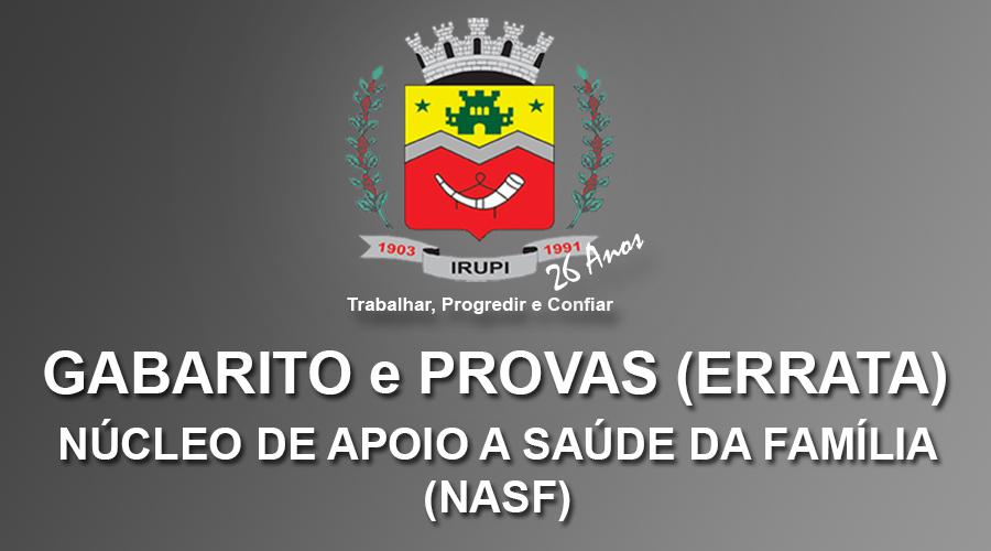 Gabarito, errata e Provas - Processo Seletivo NASF