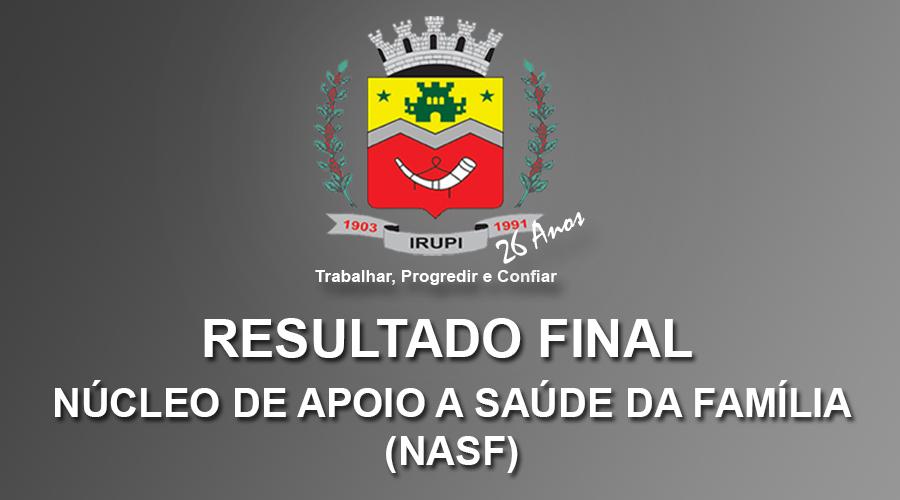 Resultado Final - Processo Seletivo NASF