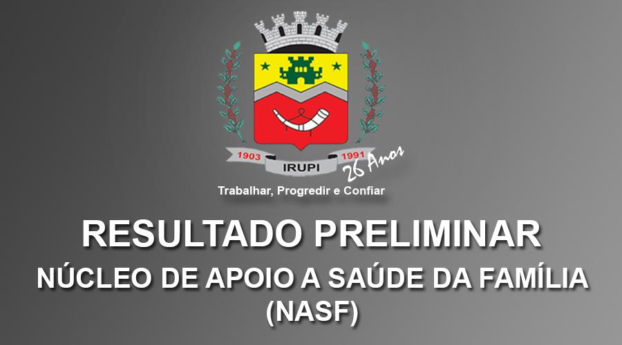 Resultado Preliminar - Processo Seletivo NASF