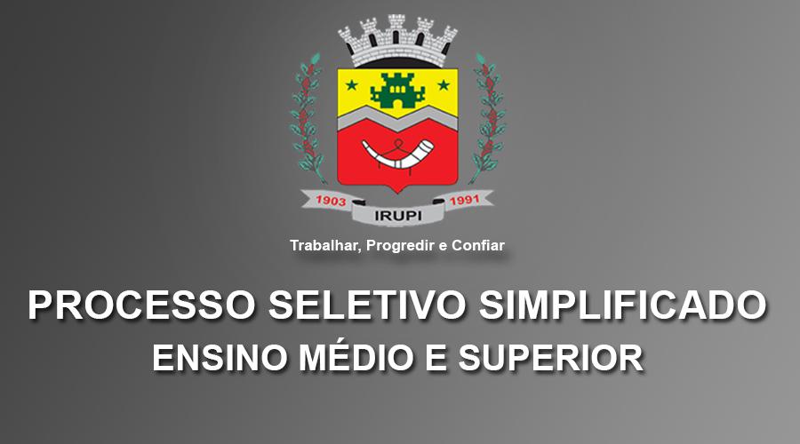 PROCESSO SELETIVO SIMPLIFICADO 03/2018 - MÉDIO E SUPERIOR