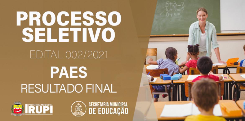 Processo Seletivo 002-2021 - Pacto pela Aprendizagem no Espírito Santo - PAES